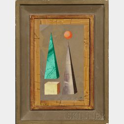 Richard Allmand Blow  (American, 1904-1983)      Untitled [Pyramids, Spheres, and Cube]