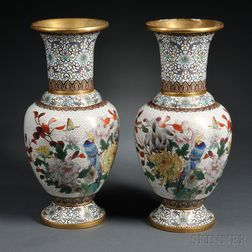 Pair of White Cloisonne Baluster Vases