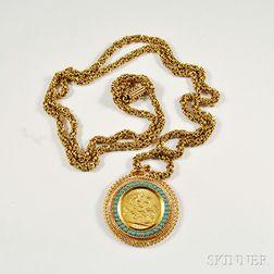 Gold Sovereign Mounted as a Pendant