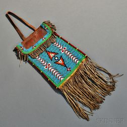 Kiowa Beaded Hide and Commercial Leather Dispatch Bag