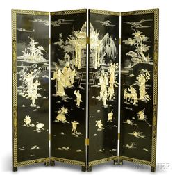 Chinese Four-panel Mother-of-pearl-inlaid Lacquered Wood Screen