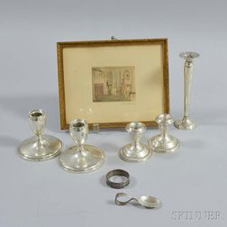 Seven Pieces of Sterling Silver Tableware and a Wallace Nutting Colored Lithograph