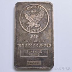 Sunshine Mining Ten Troy Ounce Silver Bar