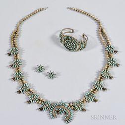 Zuni Squash Blossom Necklace, Bracelet, and Earring Set