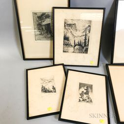 Six Framed Etchings