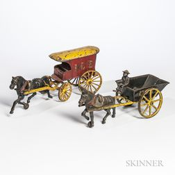 """Cast Iron """"Coal"""" Cart and """"Ice"""" Wagon Pull Toys"""