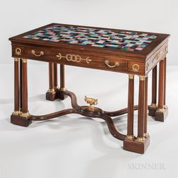 French Empire-style Mahogany and Mahogany-veneered Writing Desk with Specimen Marble Top,
