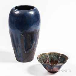 Fulper Pottery Arts and Crafts Vase and Small Bowl