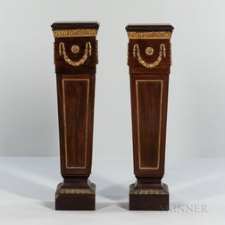 Near Pair of Louis XVI-style Mahogany and Mahogany-veneer Ormolu-mounted Pedestals