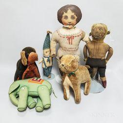 Six Cloth and Felt Dolls and Animals