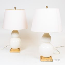 Pair of Cream-glazed Porcelain Lamps