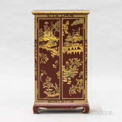 Contemporary Asian Red- and Gold-painted Miniature Cabinet