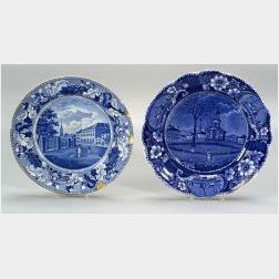 Two Historical Blue and White Transfer Decorated Staffordshire Plates
