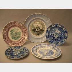 Five Assorted Transfer Decorated Staffordshire Plates