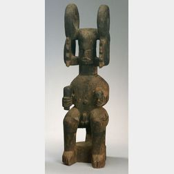 African Carved Wood Ikenga Figure