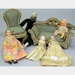 Doll House Furniture and Four Dolls