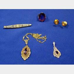 Three Art Deco White Gold Jewelry Items