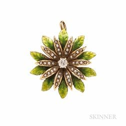 Antique 14kt Gold, Seed Pearl, Diamond, and Enamel Flower Pendant/Brooch