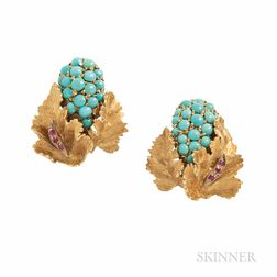 18kt Gold, Turquoise, and Ruby Earclips