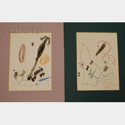 Lot of Two Color Collotypes after Joan Miró (Spanish, 1893-1983)