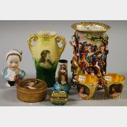 Seven European Decorated Ceramic Items and an Enameled Cabinet Vase