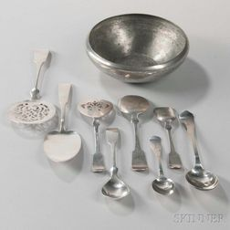 Eight Pieces of Porter Blanchard Arts and Crafts Sterling Silver Flatware