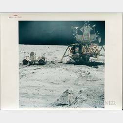 Apollo 16, Lunar Roving Vehicle and Lunar Module on the Surface of the Moon, April 21, 1972.
