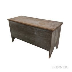 Blue-painted Pine Six-board Chest