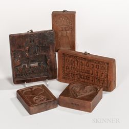 Five Carved Cookie Molds