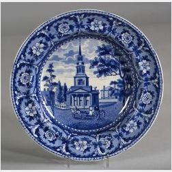 Blue and White Transfer Decorated Staffordshire Soup Plate
