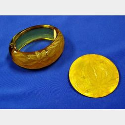 Flower Carved Bakelite Cuff and Carved Pin.