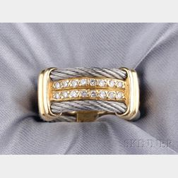 18kt Gold, Stainless Steel Cable, and Diamond Band