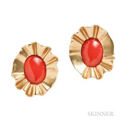 18kt Gold and Coral Earclips, Angela Cummings