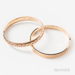 Two 14kt Gold Hinged Bangles