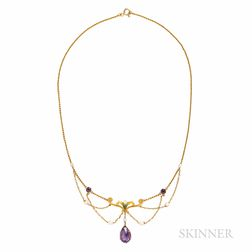 Art Nouveau 14kt Gold and Amethyst Festoon Necklace