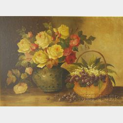 Josef Planer (Austrian, 19th/20th Century)      Still Life with Roses and Lily of the Valley.