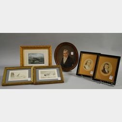 Six Framed Small Portraits and Marine Scenes