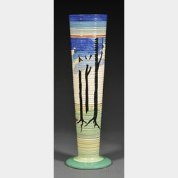Large Clarice Cliff Bizarre Ware Blue Firs Pattern Vase