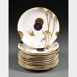 Twelve Aesthetic Movement Minton Porcelain Plates