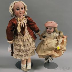 Two French Bisque Head Dolls