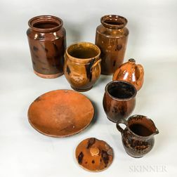 Seven Pieces of Redware Pottery Tableware