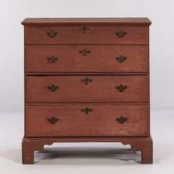 Red-painted Maple Chest over Two Drawers