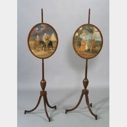 Pair of Mahogany and Mahogany Veneer George III Firescreens