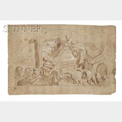 Northern Italian School, 18th Century      Allegorical Scene, Perhaps Daniel in the Lions' Den, in a Demilune Format