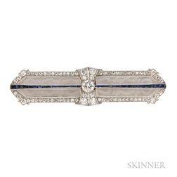Art Deco Platinum, Rock Crystal, and Diamond Bar Brooch