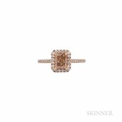 18kt Rose Gold, Colored Diamond, and Diamond Ring