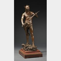Andre-Paul-Arthur Massoulle (French, 1851-1901)      Bronze Figure Depicting the Sword of Valor