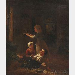 Henri van Seben (Belgian, 1825-1913)      Children Playing with Bubbles in a Barn
