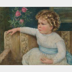 American School, 19th Century      Portrait of Martha Robeson Phillips (Boston, 1882-1960), Age Two.
