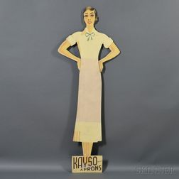 "Painted Figural ""KAYSO APRONS"" Stand-up Advertising Sign"